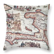 Map Of The Island Of Haiti Throw Pillow by French School