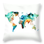 Map of The World 11 -Colorful Abstract Art Throw Pillow by Sharon Cummings