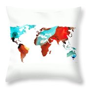Map Of The World 4 -colorful Abstract Art Throw Pillow by Sharon Cummings