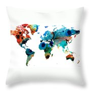 Map of The World 6 -Colorful Abstract Art Throw Pillow by Sharon Cummings