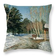 March Throw Pillow by Isaak Ilyich Levitan