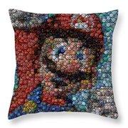 Mario Bottle Cap Mosaic Throw Pillow by Paul Van Scott