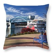 Market Street Bridge With The Delta Queen From Coolidge Park Throw Pillow by Tom and Pat Cory