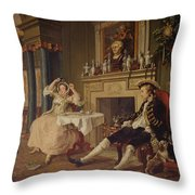 Marriage A La Mode II The Tete A Tete Throw Pillow by William Hogarth