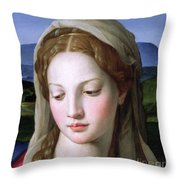Mary Throw Pillow by Agnolo Bronzino