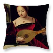 Mary Magdalene Playing The Lute Throw Pillow by Master of the Female Half Lengths