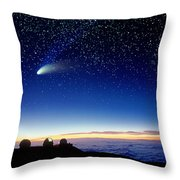 Mauna Kea Telescopes Throw Pillow by D Nunuk and Photo Researchers