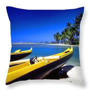 Maunalua Bay Outrigger Canoe Throw Pillow by Thomas R Fletcher