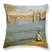 Max Schmitt In A Single Scull Throw Pillow by Thomas Eakins