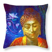 Meeting with Buddha Throw Pillow by Jane Small