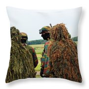 Members Of The Special Forces Group Throw Pillow by Luc De Jaeger