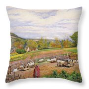 Mending the Sheep Pen Throw Pillow by William Henry Millais