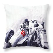 Mercedes Benz W125 Rudolf Caracciola The German Grand Prix Nurburgring 1937  Throw Pillow by Yuriy  Shevchuk