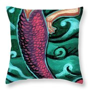 Mermaid With Pearl Throw Pillow by Genevieve Esson