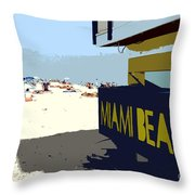 Miami Beach Work Number 1 Throw Pillow by David Lee Thompson