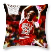 Michael Jordan Magical Dunk Throw Pillow by Paul Van Scott