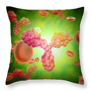 Microscopic View Of Human Anitbodies Throw Pillow by Stocktrek Images