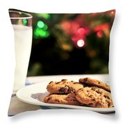 Milk and cookies for Santa Throw Pillow by Elena Elisseeva