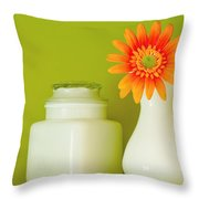 Milk Glass Throw Pillow by Linda McRae