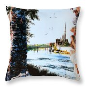 Mill Race Look-out Throw Pillow by Hanne Lore Koehler