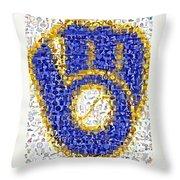 Milwaukee Brewers Mosaic Throw Pillow by Paul Van Scott