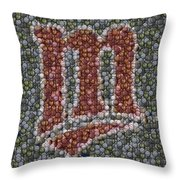 Minnesota Twins Baseball Mosaic Throw Pillow by Paul Van Scott