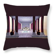 Minoan Temple Throw Pillow by Corey Ford