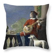 Minstrel, 19th Century Throw Pillow by Granger