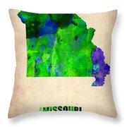 Missouri Watercolor Map Throw Pillow by Naxart Studio