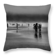 Misty Beach Throw Pillow by David Patterson