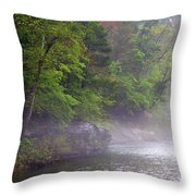 Misty Morning On The Buffalo Throw Pillow by Marty Koch