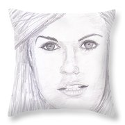 Model With Blond Hair Throw Pillow by M Valeriano