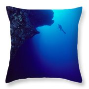 Molokini, Diver In Distance Throw Pillow by Dave Fleetham - Printscapes