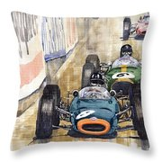 Monaco Gp 1964 Brm Brabham Ferrari Throw Pillow by Yuriy  Shevchuk