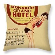 Monarch Grand Hotel Throw Pillow by Cinema Photography