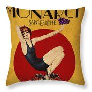 Monarch Wine A Vintage Style Ad Throw Pillow by Cinema Photography