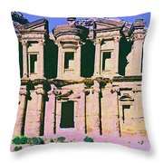 Monastery At Petra Throw Pillow by Dominic Piperata