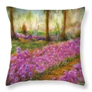 Monet's Garden In Cannes Throw Pillow by Jerome Stumphauzer