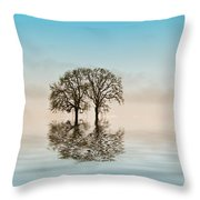 Moody Trees Throw Pillow by Jean Noren