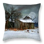 Moon Light Barn Throw Pillow by Mary Timman