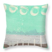 Moon Over The Sea Throw Pillow by Linda Woods