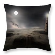 Moonlight Lighthouse Throw Pillow by Lourry Legarde