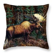 Moose Vignette Throw Pillow by JQ Licensing