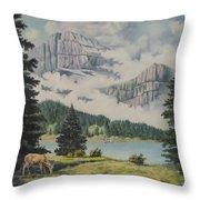 Morning At The Glacier Throw Pillow by Wanda Dansereau