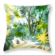 Morning Glory Throw Pillow by Anil Nene