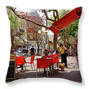 Morning On A Street In Tel Aviv Throw Pillow by Zalman Latzkovich