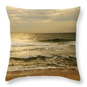 Morning On The Beach - Jersey Shore Throw Pillow by Angie Tirado