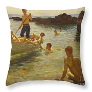 Morning Splendour Throw Pillow by Henry Scott Tuke