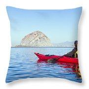 Morro Bay Kayaker Throw Pillow by Bill Brennan - Printscapes