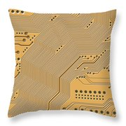 Motherboard - Printed Circuit Throw Pillow by Michal Boubin